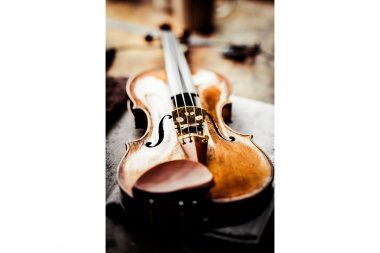 Photograph of a Stradivarius on a workbench in London
