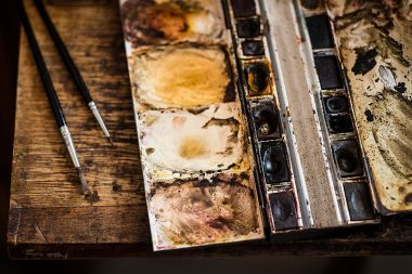 Watercolour palette for repairing violins at J & A Beare Ltd in London