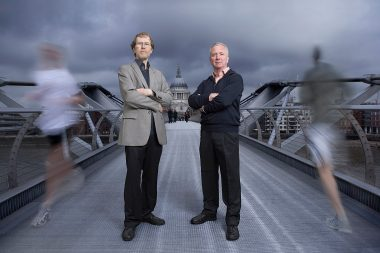 Architects stood on the Millennium Bridge in London