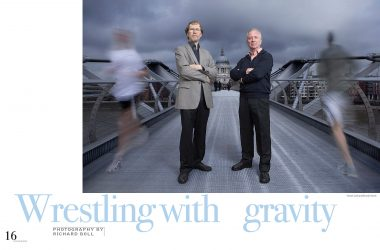 A portrait of the architects Tristram Carfrae and J Parrish on Millennium Bridge in London