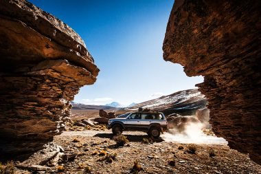 Advertising photograph of a car in the landscape in Bolivia