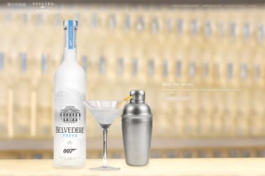 An advertising photograph of Belvedere Vodka cocktail on a bar