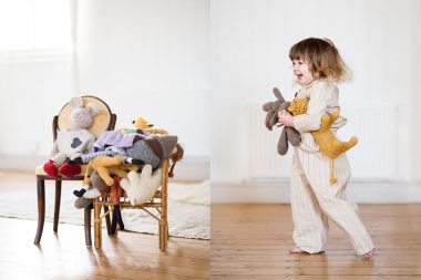 A child playing in a fashion photograph