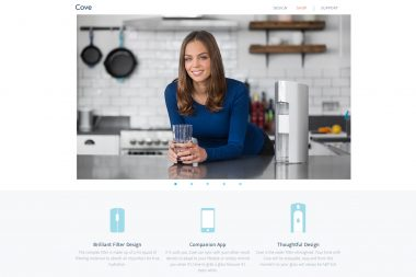 A lifestyle portrait of a woman with a Cove water filter in a kitchen in London