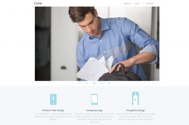 A lifestyle advertising photograph of a man with a bag for cove water filters