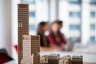 Architectural model in corporate office environment in London