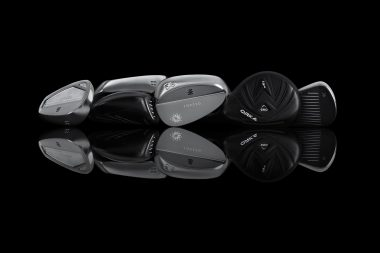 Orka Golf clubs on a black background