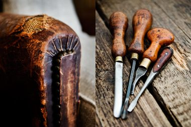 Photographs of an antique leater chair and chisels