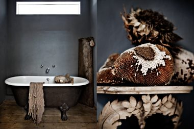 Interior design photographs of a bath and sunflowers