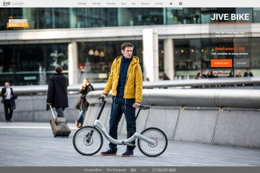 An advertising image of a man with a bicycle in Central London