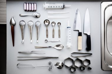 Photograph of the tools used by Jozef Youssef of Kitchen Theory in London