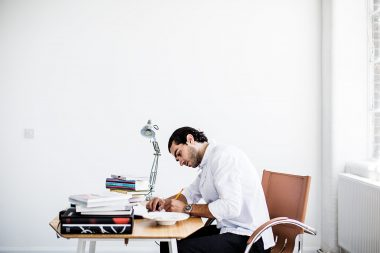 Portrait of London chef Jozef Youssef working in his studio