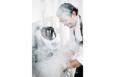 Photograph of London chef Jozef Youssef experimenting in his studio