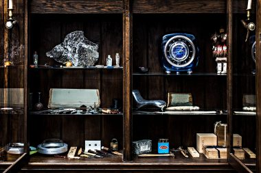 Photograph of the cabinet of curiosities of designer Marc Newson