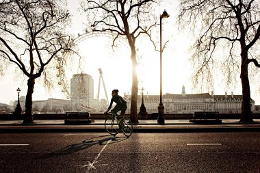 Advertising lifestyle photograph of the cyclist Cadel Evans taken in London