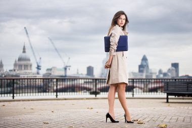 Lifestyle advertising photograph of a woman in London