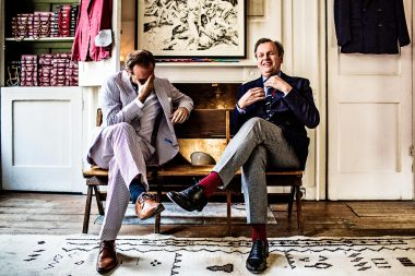 Portrait of wine expert Tom Harrow and tailor Timothy Everest in London for Rolls Royce magazine