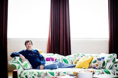 Editorial portrait of Marc Newson on the sofa for Habitus Magazine
