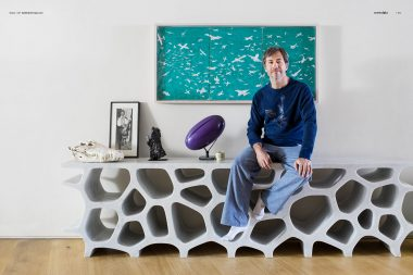 A portrait of the designer Marc Newson in his London home