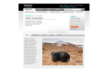 An advertising product photograph of a Sony camera in a landscape