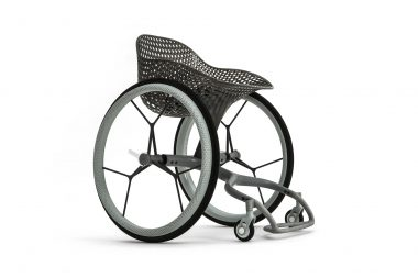 A product photograph of a wheelchair on a white background