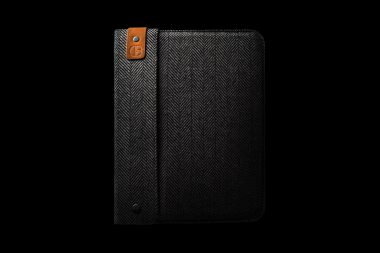 An ipad or tablet case photographed against a black background