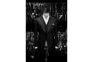 Mannequin with luxury mens suit on Bond Street in London
