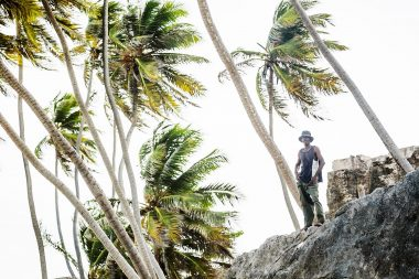 Portrait of tree climber and coconut seller in Barbados