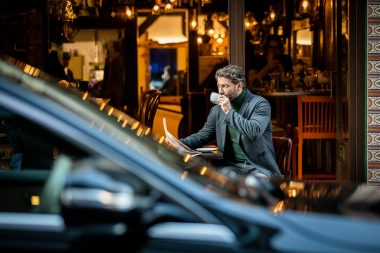 lifestyle-advertising-photography-of-man-in.cafe-with-mercedes-benz